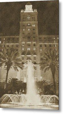 Biltmore Hotel Miami Coral Gables Florida Exterior Entrance Tower Vintage Digital Art Metal Print by Shawn O'Brien