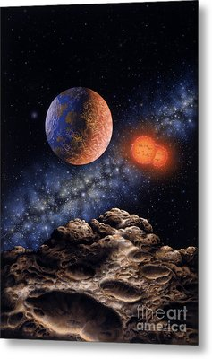 Binary Red Dwarf Star System Metal Print by Lynette Cook