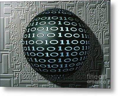 Binary Sphere Metal Print by Gregory MacNicol