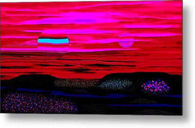 Binary Sunset With Bioluminescent Flora Metal Print by L Brown