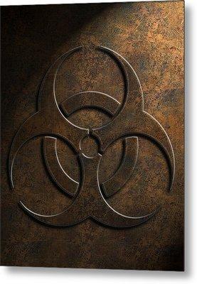 Metal Print featuring the digital art Biohazard Symbol Stone Texture by Brian Carson
