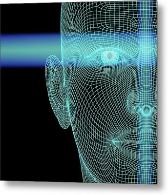 Biometric Polygon Head With Scanlines Metal Print