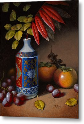 Birch And Sumac With Persimmons Metal Print by Timothy Jones