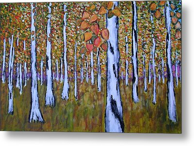 Metal Print featuring the painting Birch Autumn by Zeke Nord