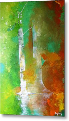 Metal Print featuring the painting Birch In Fall Colors by Gary Smith