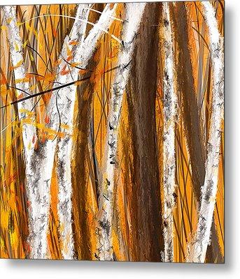 Birch Trees Autumn Metal Print by Lourry Legarde