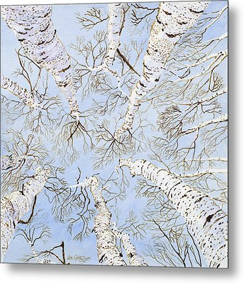 Birch Trees Metal Print by Leo Gehrtz