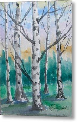 Birch Trees Metal Print by Melinda Saminski