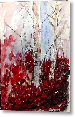 Birch Trees - Red Fall Foliage Metal Print
