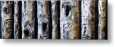 Birches In A Row Metal Print by Lori McPhee
