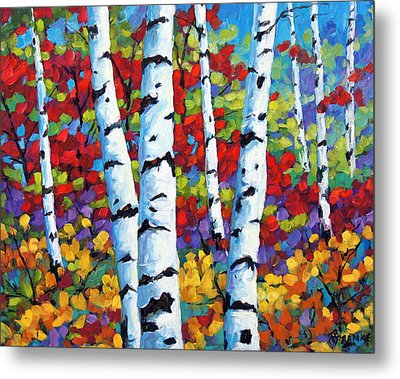 Birches In Abstract By Prankearts Metal Print