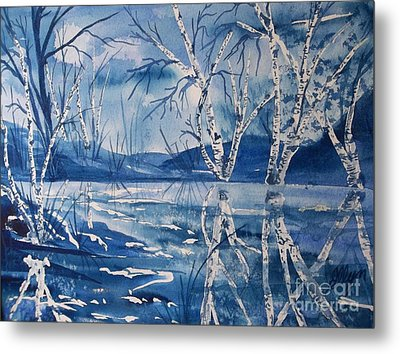 Birches In Blue Metal Print by Ellen Levinson