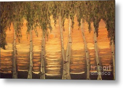 Metal Print featuring the painting Birches In The Sun by Holly Martinson