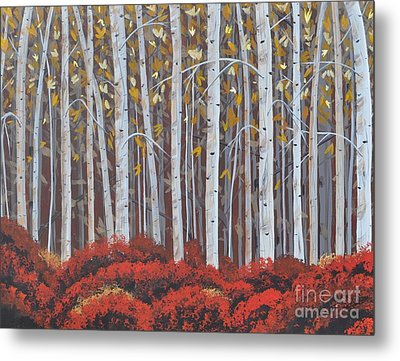 Birches Metal Print by Sally Rice