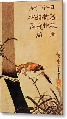 Bird And Bamboo Metal Print by Ando or Utagawa Hiroshige
