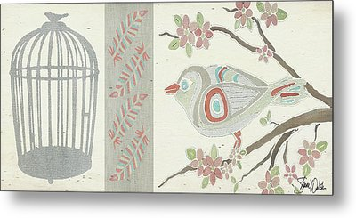 Bird And Cage Two Metal Print by Shanni Welsh