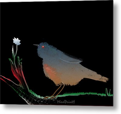 Bird And The Flower Metal Print by Asok Mukhopadhyay