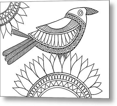 Bird Crow Metal Print by Neeti Goswami