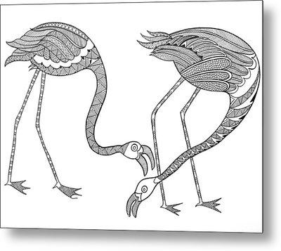Bird Flamingos 2 Metal Print by Neeti Goswami