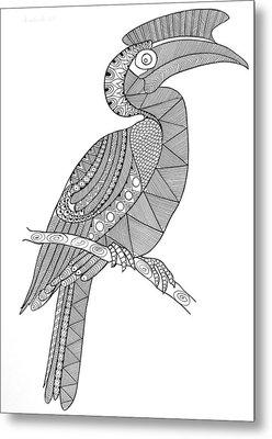 Bird Hornbill Metal Print by Neeti Goswami