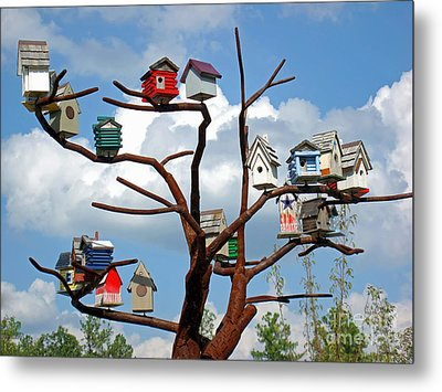 Metal Print featuring the photograph Bird House Village by Sue Melvin