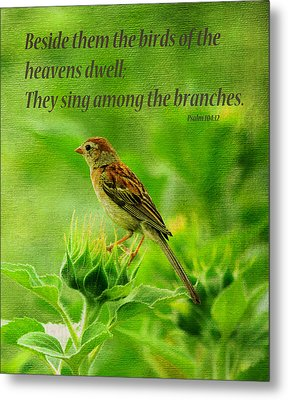 Bird In A Sunflower Field Scripture Metal Print