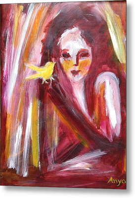 Metal Print featuring the painting Bird In Hand by Anya Heller