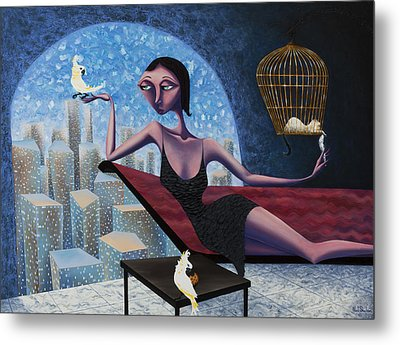 Bird Lady Metal Print