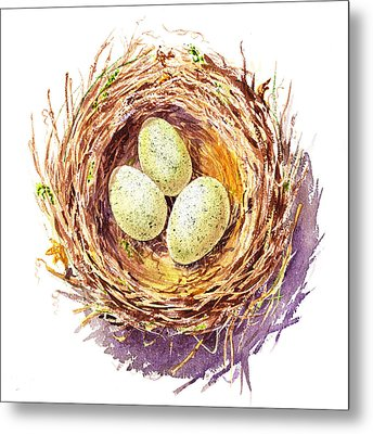 Bird Nest A Happy Trio Metal Print
