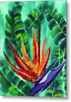 Bird Of Paradise Crane Flower Acrylic Painting Metal Print