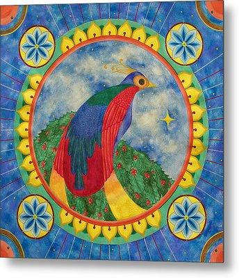 Bird Of Paradise Mandala Metal Print by Vlatka Kelc