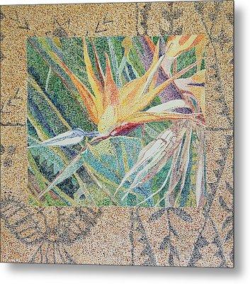 Bird Of Paradise With Tapa Cloth Metal Print
