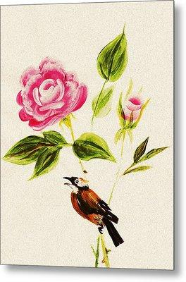 Bird On A Flower Metal Print