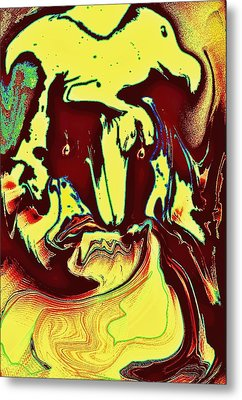 Bird On Head Metal Print
