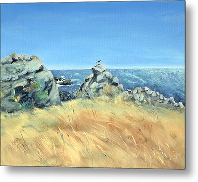 Metal Print featuring the painting Bird On Rock And Silvery Blue Sea by Asha Carolyn Young