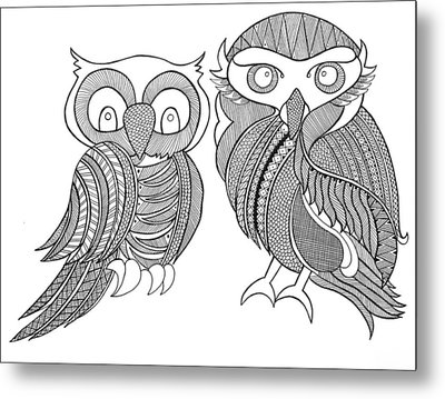 Bird Owls Metal Print by Neeti Goswami