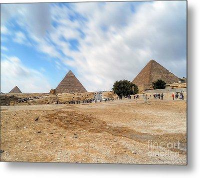 Bird Sphinx And Pyramids Metal Print by Karam Halim