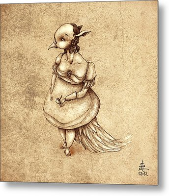 Bird Woman Metal Print by Autogiro Illustration
