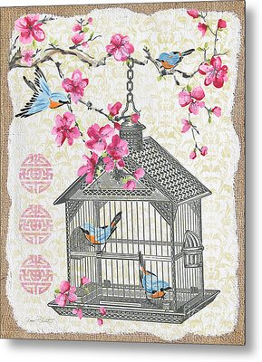 Birdcage With Cherry Blossoms-jp2611 Metal Print