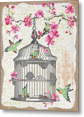 Birdcage With Cherry Blossoms-jp2613 Metal Print