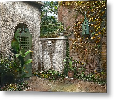 Birdhouse And Gate Metal Print by Terry Reynoldson