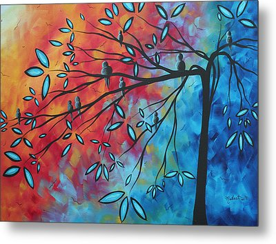 Birds And Blossoms By Madart Metal Print by Megan Duncanson