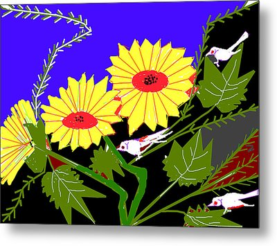 Birds And Leaves Metal Print by Anand Swaroop Manchiraju