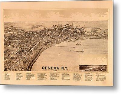 Bird's-eye View Of Geneva New York 1893 Metal Print by Mountain Dreams