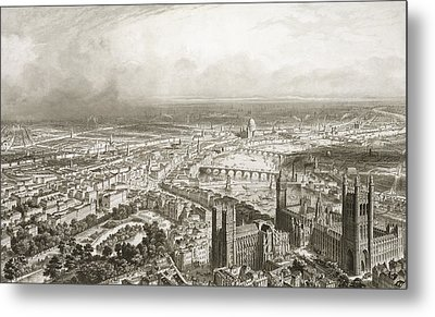 Birds Eye View Of London From Westminster Abbey Metal Print by Nicolas Marie Joseph Chapuy