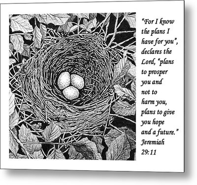 Bird's Nest With Scripture Metal Print by Janet King
