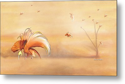 Birds Of Paradise In The Fog Metal Print by Angela A Stanton