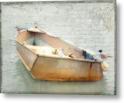 Birds On A Boat In The Basin Metal Print by Karen Lynch