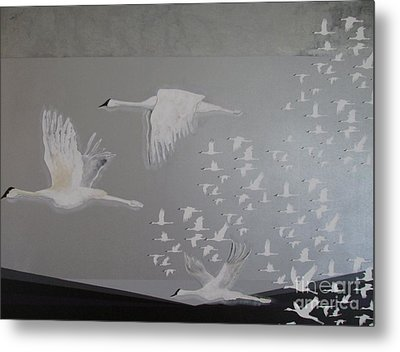 Metal Print featuring the painting Birds On A Silver Sky by Nereida Rodriguez