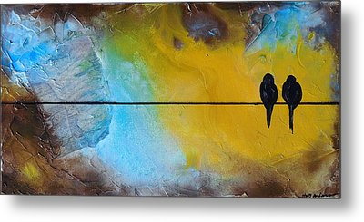 Birds On A Wire Lovebirds Metal Print